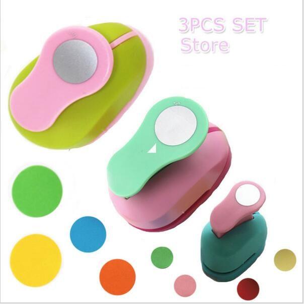 3PCS (5 centímetros, 3.8 centímetros, 2.5 centímetros) forma redonda perfurador do ofício set crianças DIY manual cortador de papel de scrapbook furadores Círculo soco
