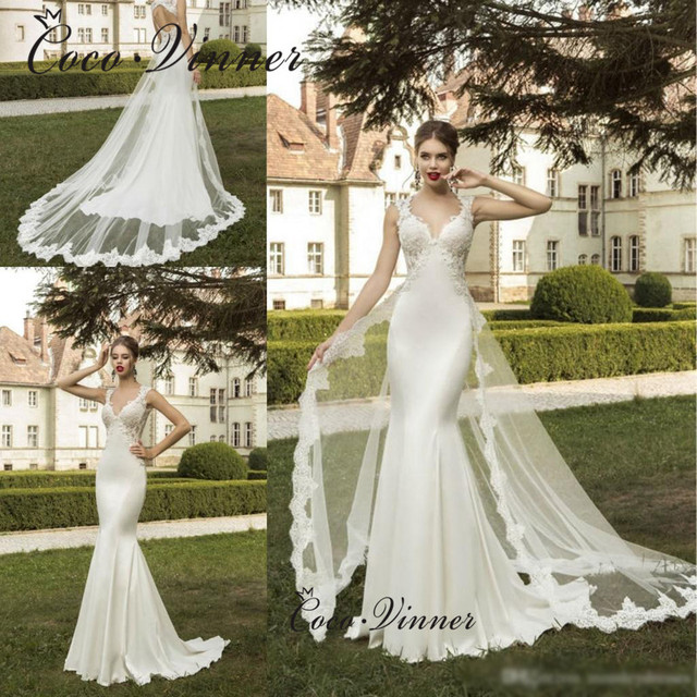 30332f1812a V neck Backless Lace Appliques Satin Mermaid Wedding Dresses vestido de  noiva Custom Made mariage Turkey Wedding Dress W0275