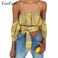 Forefair Yellow Print Crop Top Women Sexy Off Shoulder Half Sleeve Strapless Bustier Tees Cropped Bandage