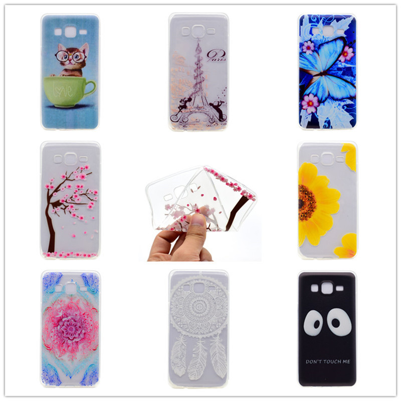 Cartoon Ultra-thin Transparent Soft TPU Silicon Phone Case For Samsung Galaxy J5 2015 J500 J500F Butterfly Floral Back Cover