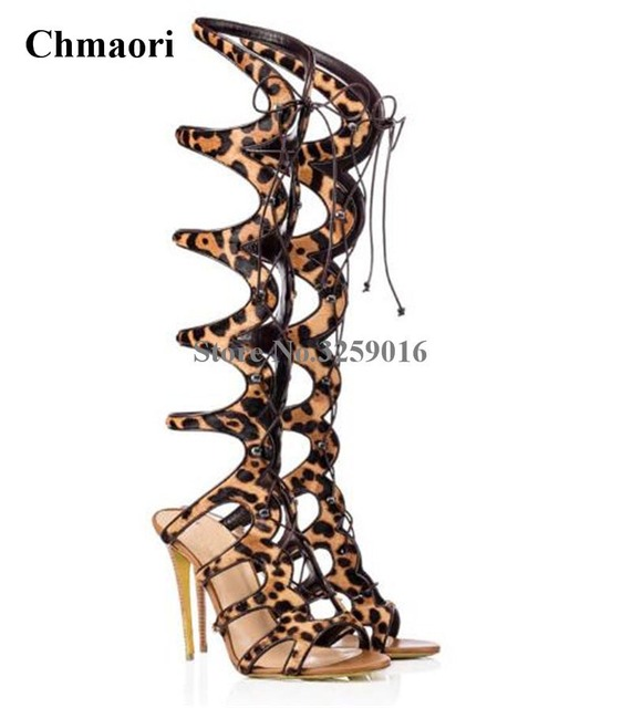 246e31fb281 US $88.14 24% OFF Aliexpress.com : Buy Women Sexy Open Toe Leopard Suede  Leather Lace up Knee High Gladiator Boots Cut out Straps Long High Heel ...