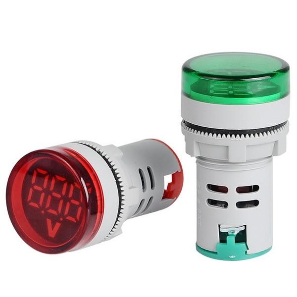 DHL 100pcs 22mm LED Digital Gauge Volt Voltage Meter Indicator Signal Lamp Voltmeter Lights Tester Measuring