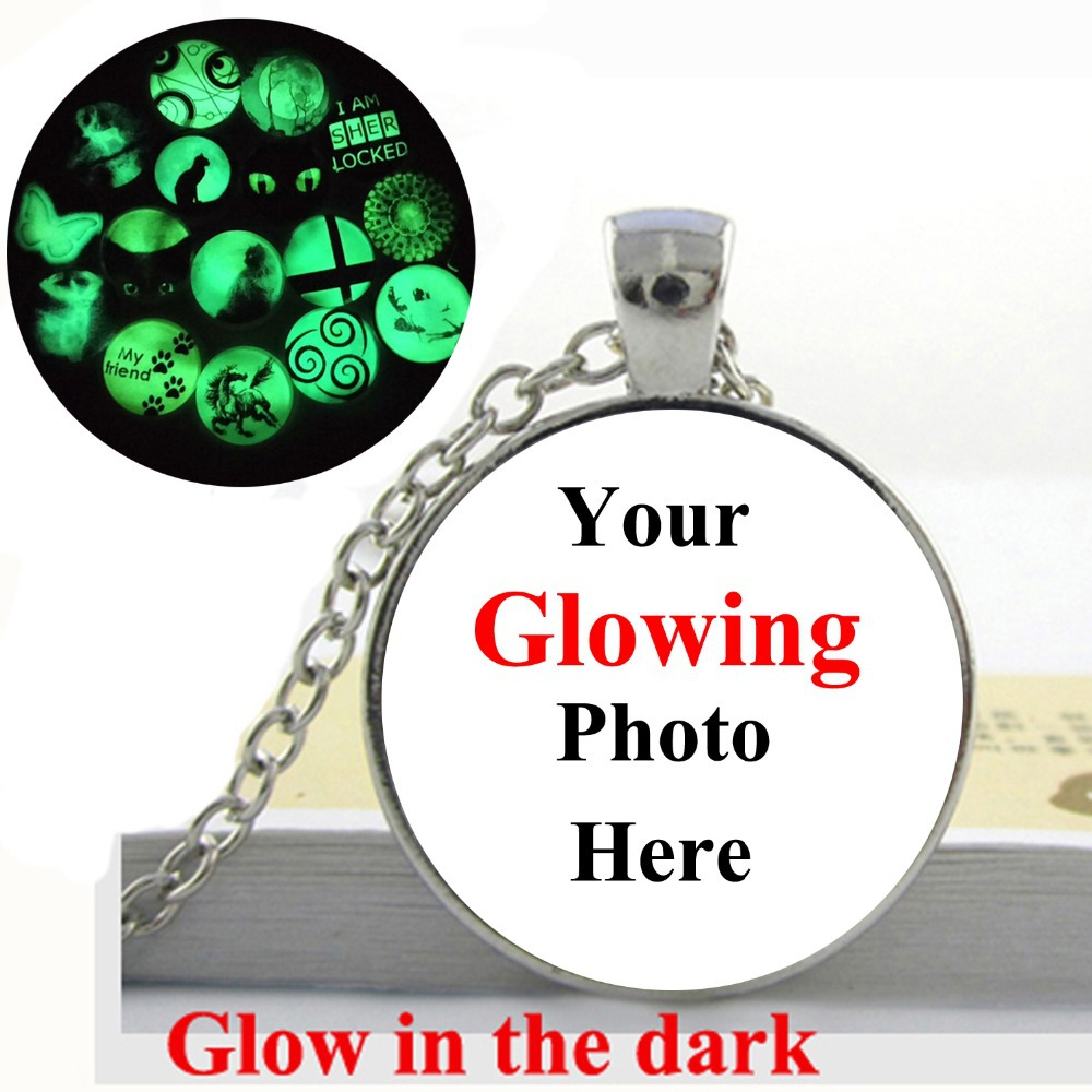 Wholesale Custom Your Photo Jewelry - <font><b>Glow</b></font> <font><b>in</b></font> <font><b>the</b></font> <font><b>dark</b></font> <font><b>Necklace</b></font> Pendant-Glass Dome <font><b>Necklace</b></font> Personalized Jewelry OMG image
