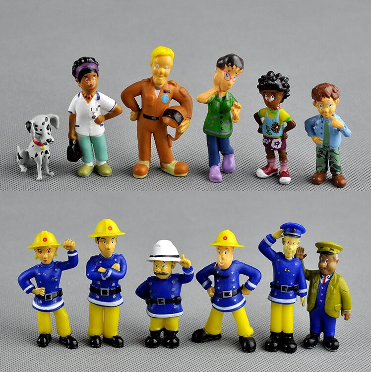 QMXD 12Pcs/Set anime Fireman Sam action figure PVC doll