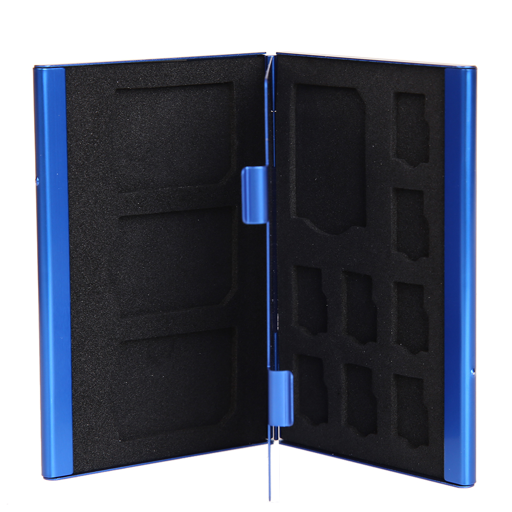 Memory Card Storage Case Box Portable Deck Aluminium Alloy 8TF + 4SD Memory Cards Case Storage Box Holder Blue Wholesale Price