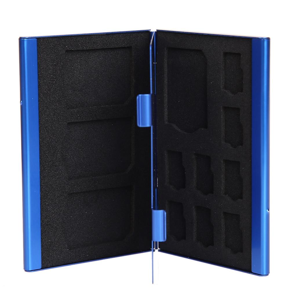 Memory Card Storage Case Box Portable Deck Aluminium Alloy 8TF + 4SD Memory Cards Case Storage Box Holder Blue Wholesale Price