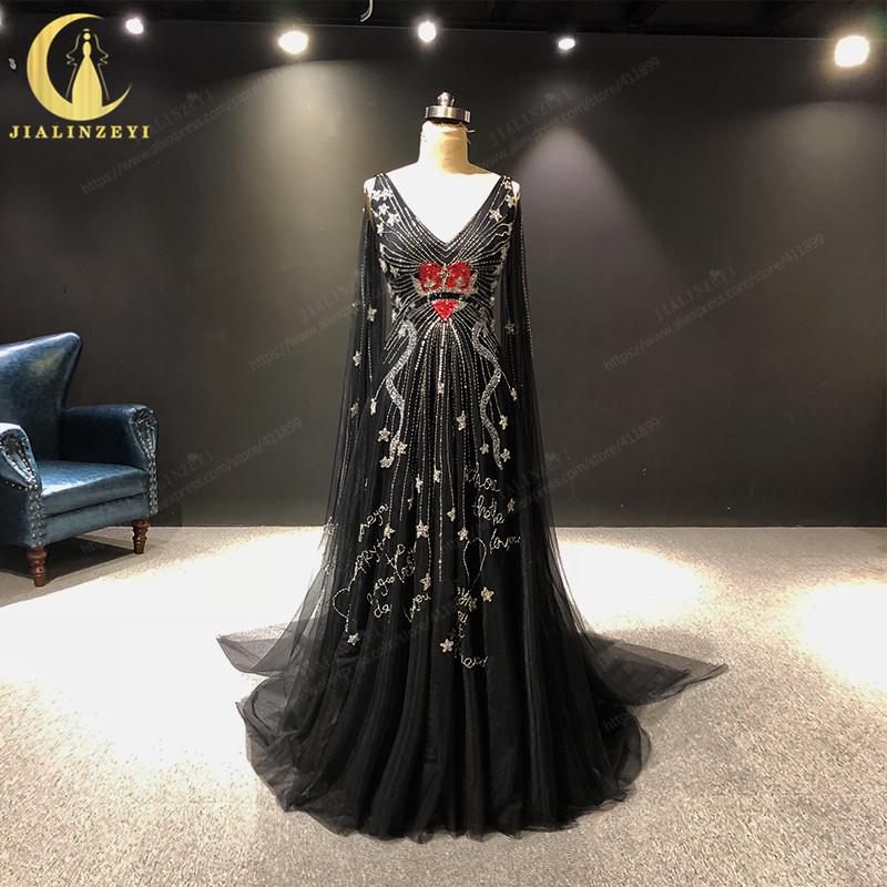 JIALINZEYI Real Picture Newest Sexy Long Sleeves V Neck Black Tulle With Beads Fashion Formal Dress Evening Dresses 2019