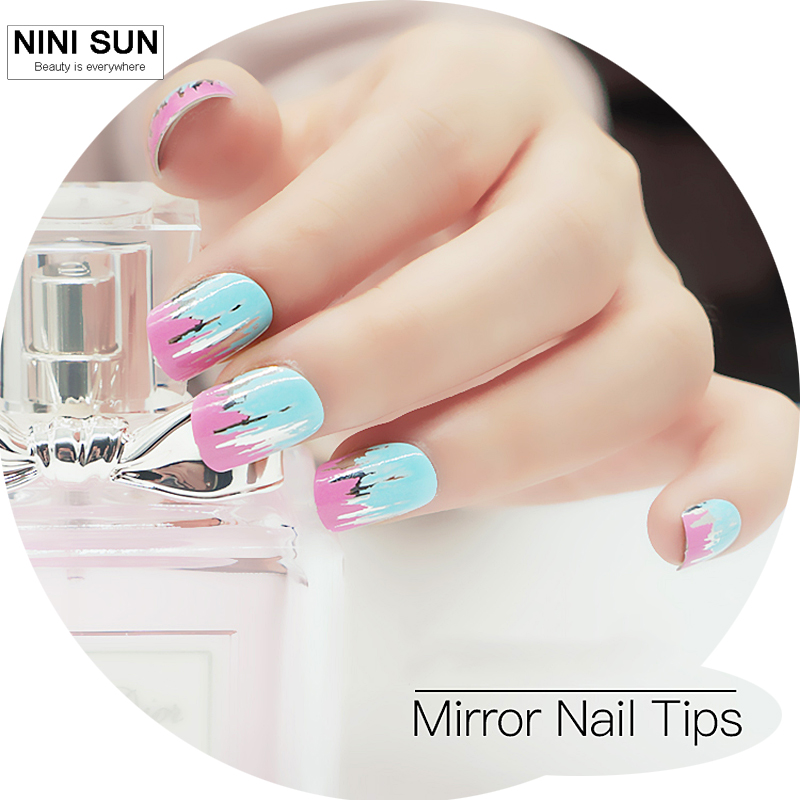 Hot Selling 24Pcs Short Full Cover Silver Metal Frosted False Nail ...