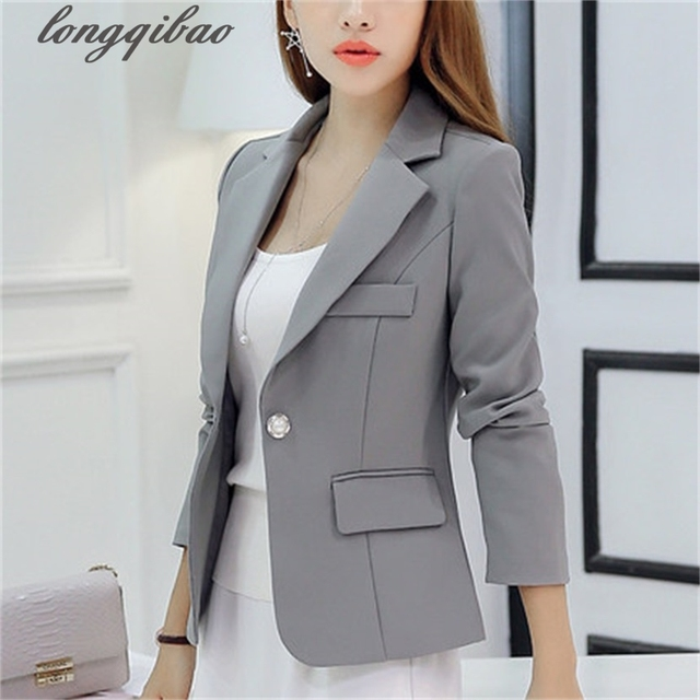 New Europe Style Spring Autumn Plus Size Women Elegant Long Sleeve Blazer Female Blazer Fashion Suit coat F191