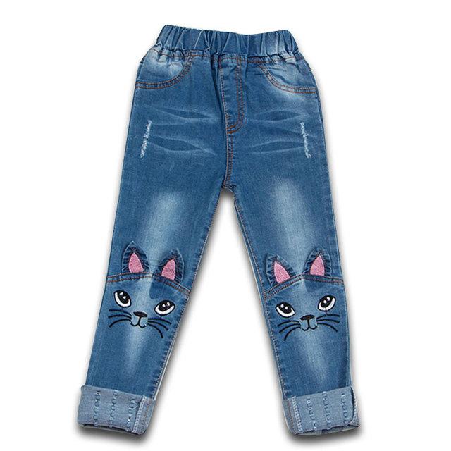 2017 Del Otoño Del Resorte Muchachas de Los Niños Lindos Gatos Bordados Vaqueros Niños Chicas Casual Pantalones de Cintura Alta Pantalones Pies Roupas Infantis