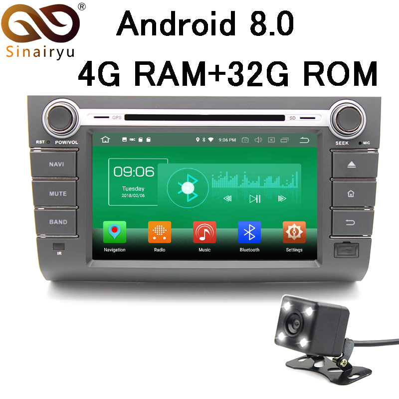 Sinairyu 4GB RAM Android 8.0 Car DVD GPS Navigation For SUZUKI SWIFI 2004-2010 Car Stereo Radio TV Multimedia Head Unit