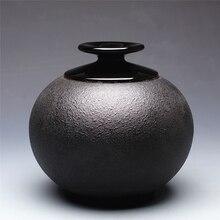 Рука класса Черный керамики канистры большие Керамические чай чай Pu'er барабаны Хранения бак хранения продуктов питания Бутылки запечатаны банки Сахара чаша