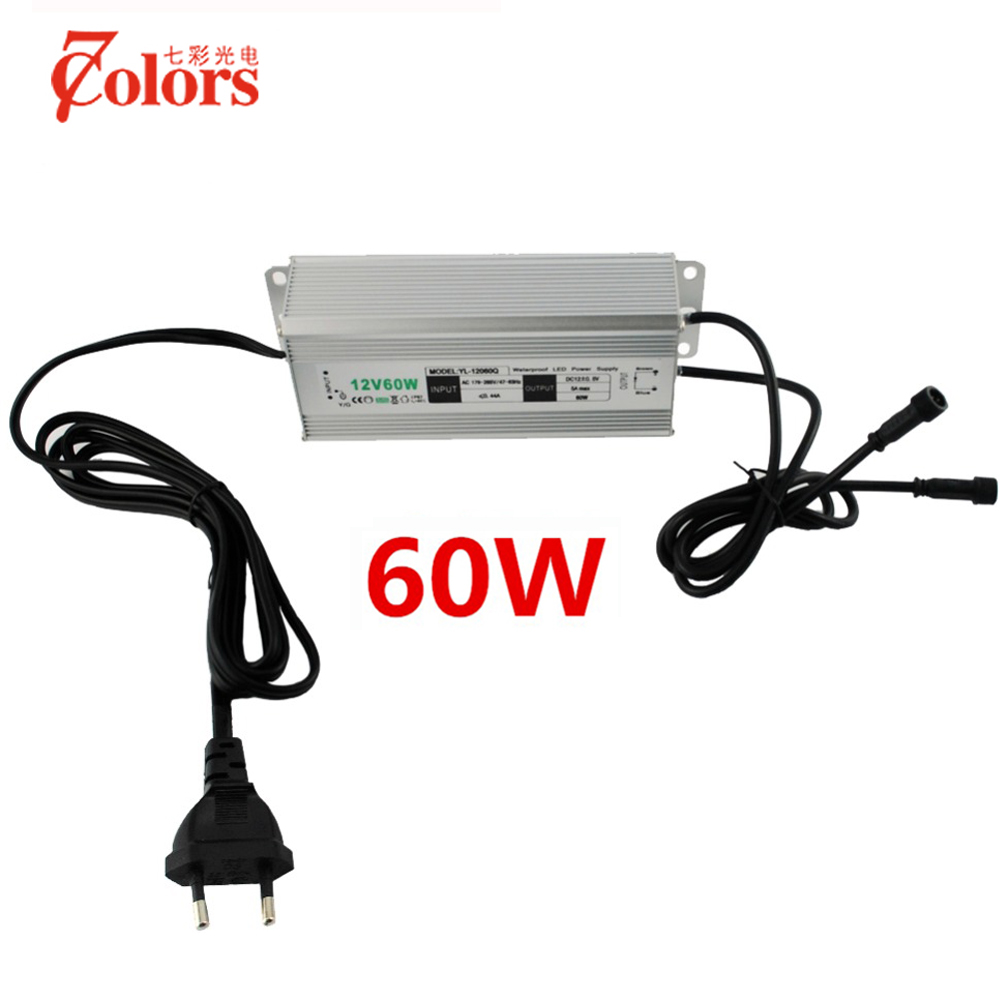 12V 60w Power Supply for LED Light Waterproof IP67 Transformer 220V 12V EU US UK AU Plug LED Driver with 2 male connector 90w led driver dc40v 2 7a high power led driver for flood light street light ip65 constant current drive power supply