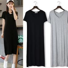 Yfashion Women Summer Simple Casual Solid Color V-neck Short Sleeve Long Dress