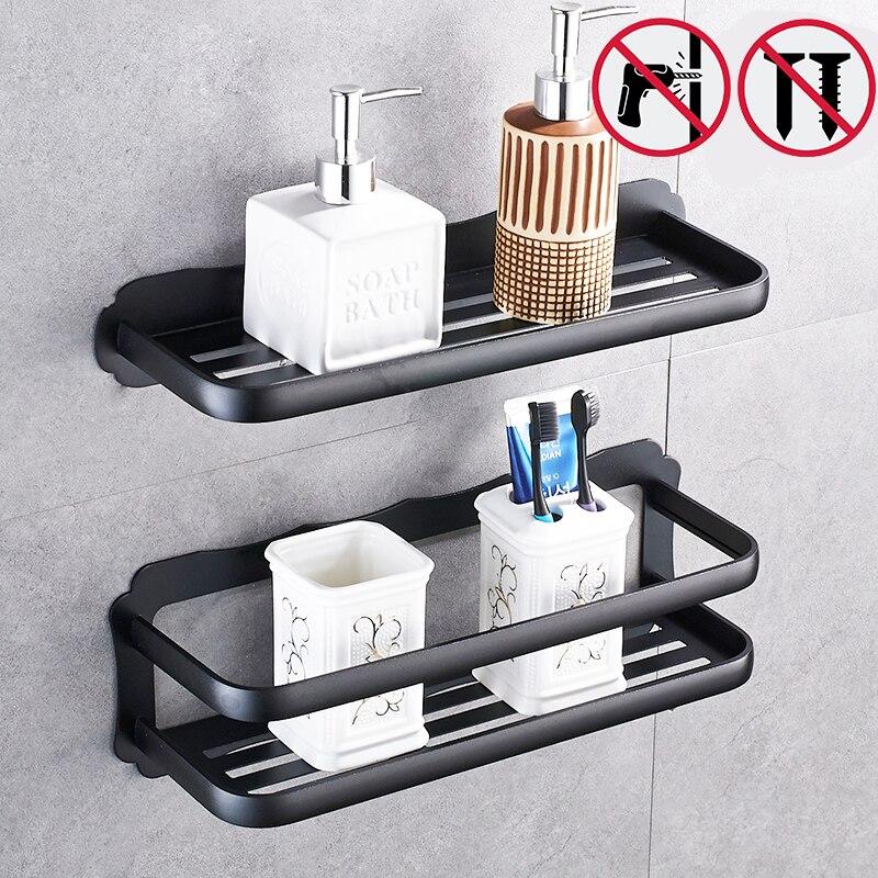 Nail Free Light Space Aluminum Bathroom Shelves Wall Mount
