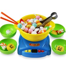 Children Plastic Hot Pot Playset Toys with Chopsticks Egg Creative Fun Toys - Colorful