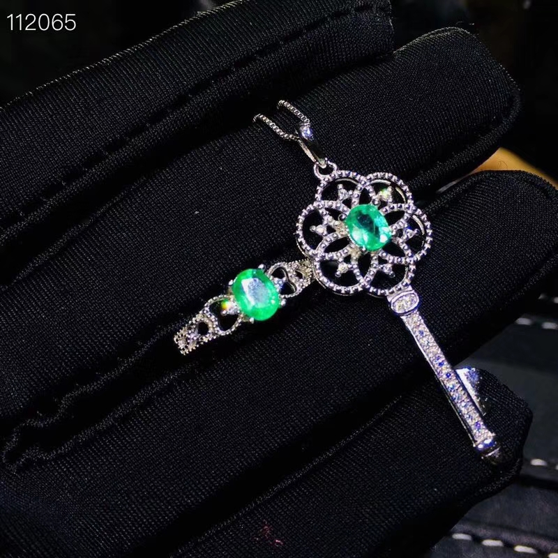 Oude Mooie Uitholling Key S925 zilver natuurlijke groene smaragd edelsteen ring Hanger natuurlijke edelsteen sieraden set vrouw party gift - 4