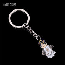 Glamour silver Christ Jesus small cartoon angel keychain. Stylish cute cartoon Jesus chain key ring accessories pendant gift(China)