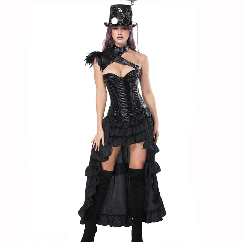 Corzzet Sexy Burlesque Steampunk Black Leather   Corset   Dress Overbust   Corsets   and   Bustiers   With Layed Skirt