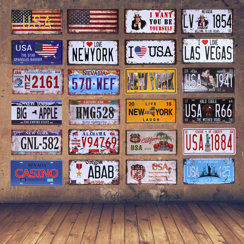 american vintage home decor new york tin sign usa car plate nevada metal license plaque oregon. Black Bedroom Furniture Sets. Home Design Ideas