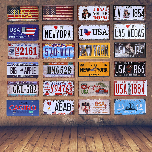 American Vintage Home Decor New York Tin Sign USA Car Plate Nevada ...