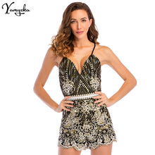 2018 New Sexy Women Spaghetti Strap V Neck Sequins Bodysuit Elegant Backless Bandage Luxury Club Beach Party Jumpsuit Overalls