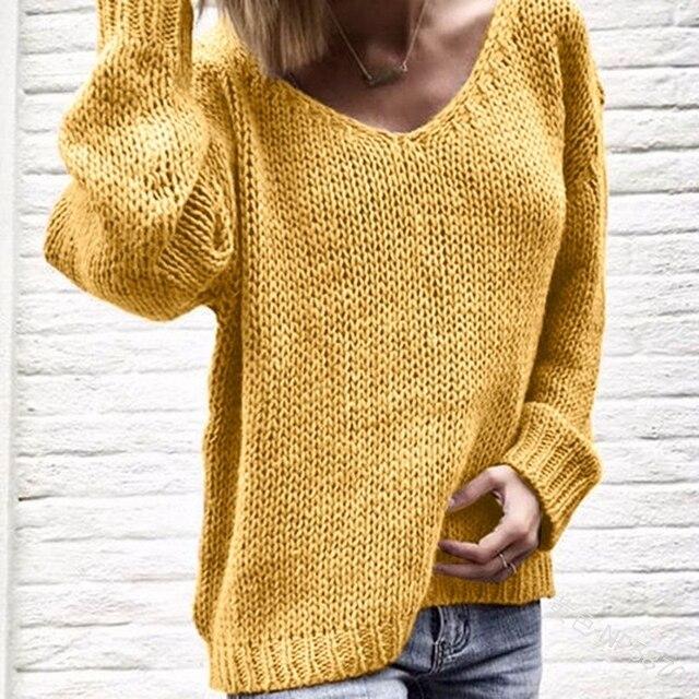 V צוואר נשים סוודרים סרוג סתיו חורף בגדי סוודר Jumper למשוך Hiver + Dames_3.25