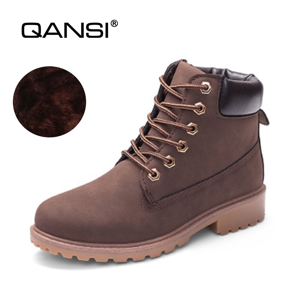 QANSI Autumn Winter Women Ankle Martin Boots with Fur New Fashion Woman Snow Boots for Girls