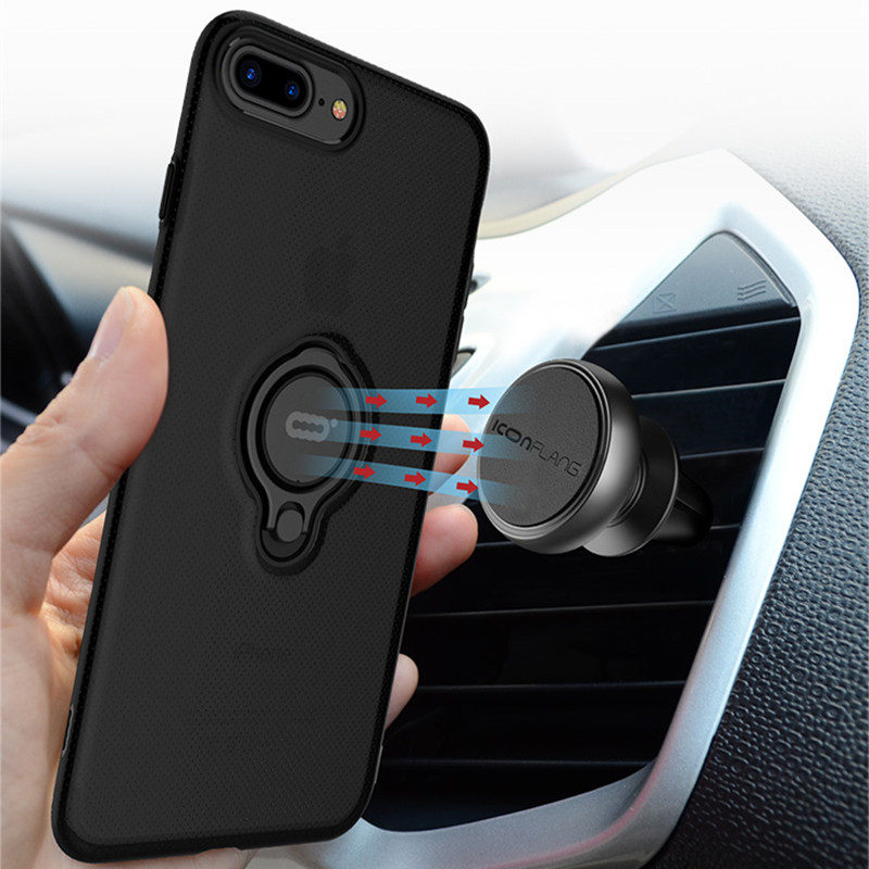 360 Finger Ring Holder Phone Case For iPhone 8 8 Plus Transparent Candy Color Shockproof Case Magnetic Car Stand Back Cover iPhone 8