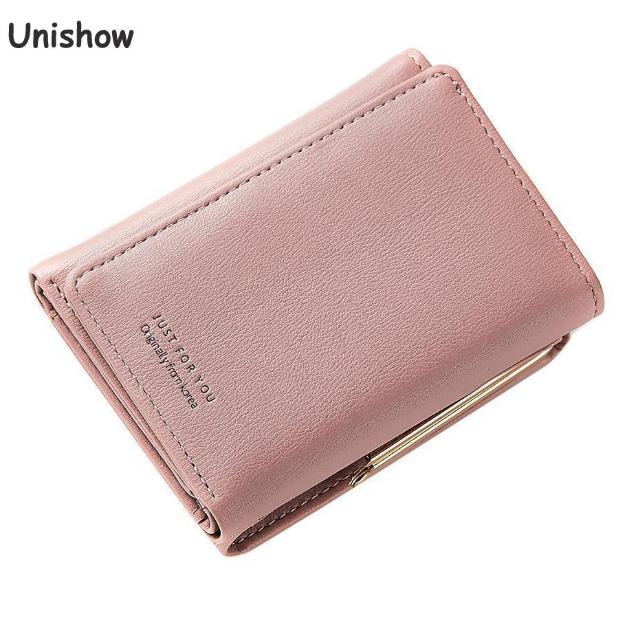 Unishow Brand Lock Wallet Women Small Coin Purse Tri Fold Card Holder Wallet Female Pu Leather Change Pocket Little Girl Purse брюки rinascimento rinascimento ri005ewankq7