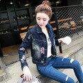 Moda 2016 estilo Europeu das Mulheres do Outono Calça Jeans Impresso Jaqueta Jeans Mulheres Jaqueta Curta Jean Jaquetas para As Mulheres Outwear Z46