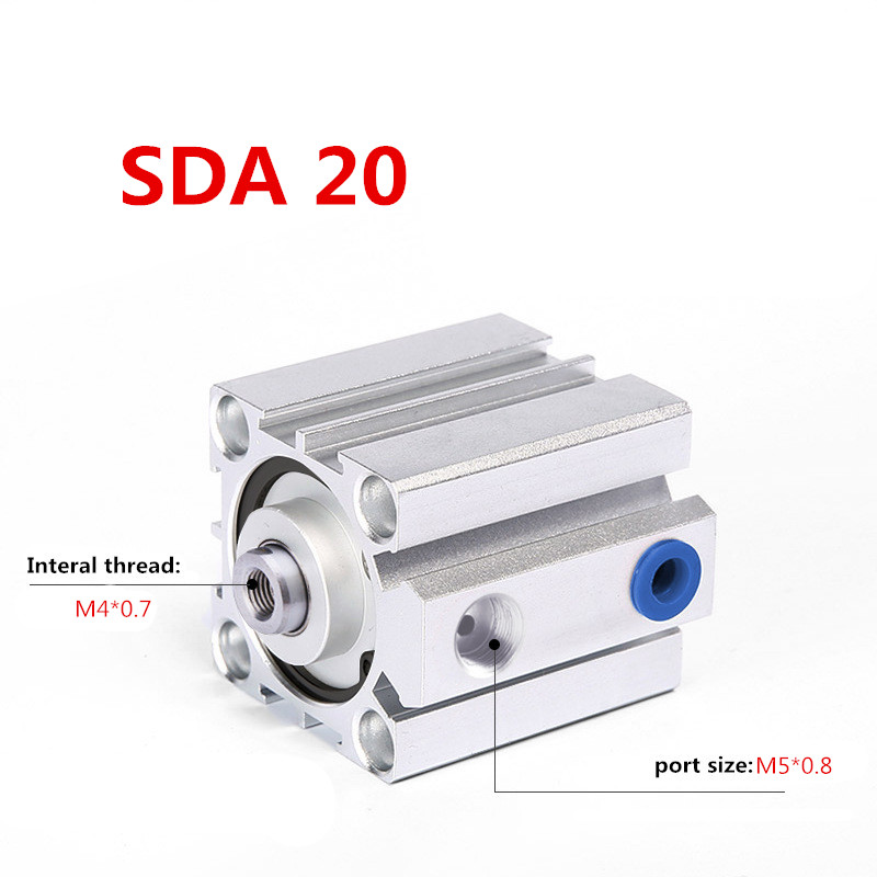 Free shipping SDA20 series 5mm to 100mm Standard Thin cylinder Aluminum Alloy Shell Compact Pneumatic Cylinder