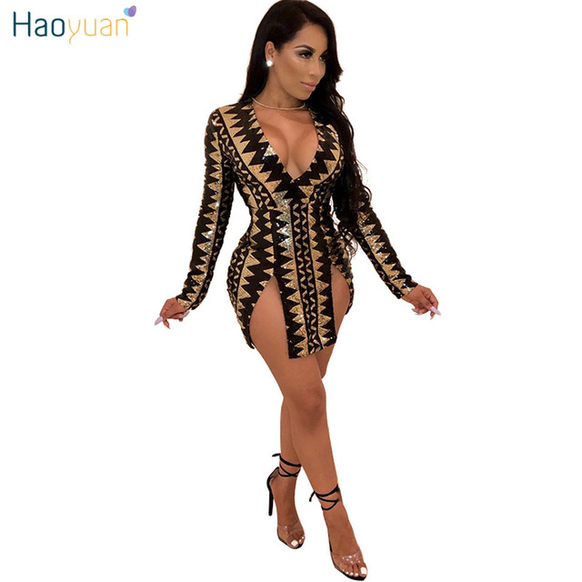 ffc8e3c86d HAOYUAN Geometric Print Sexy Night Club Dresses Women Clothes Slit Bodycon  Mini Dress Long Sleeve Deep V Neck Short Party Dress