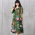 Mulheres Elegante vestido Vintage Cheio de Lótus Flor Floral Impressão de Linho de Algodão Ocasional de Manga Longa A Linha de Vestidos Vestido de Outono Nova Primavera