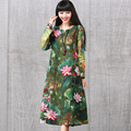 Womens Elegant Vintage Full Lotus Flower Floral Print Casual Cotton Linen Long Sleeve A Line Vestidos Dress Autumn Spring New
