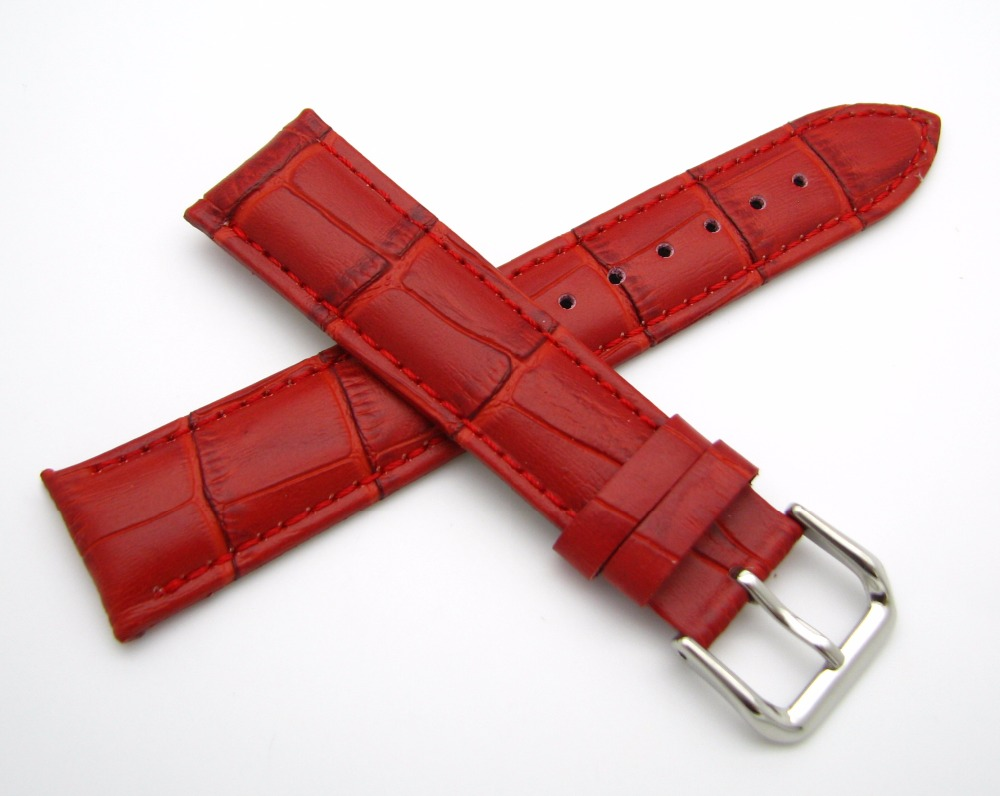 12 14 16 18 20 22 24mm Hot Men Women Genuine Cowhide Leather Red Classic Alligator Grain Watch Band Strap Belt Silver Pin Buckle flex super big 80 195