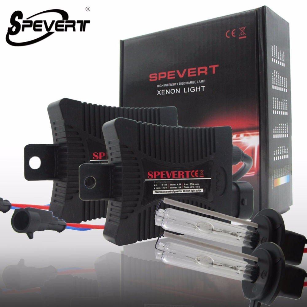 SPEVERT 55W H4 High Low Beam H1 H7 Single Beam X ENON HID KIT Bulbs SLIM BALLAST 6000K 8000K 12V Car Headlight Lamp