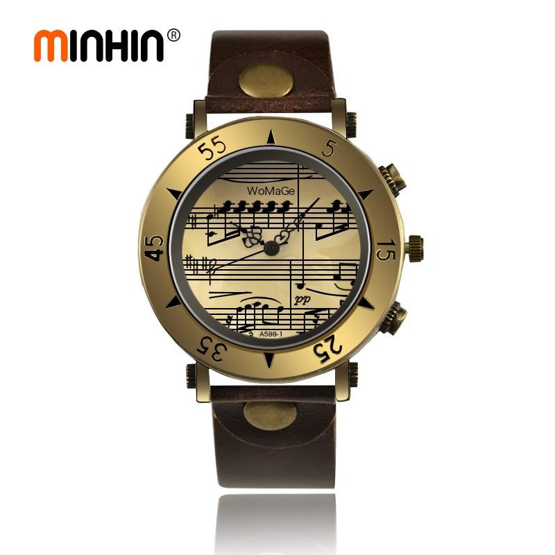 MINHIN 2020 New Design Leather Wristwatches Women Men Vintage Bronze Dial Music Note Quartz Analog Casual Watches Gift