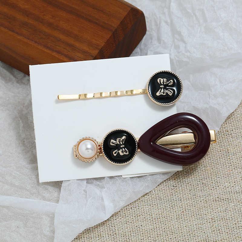 Hesiod 2pcs/set Fashion Korea Style Metal Gold Pearl Hair Clips Women Hairpin Girls Hairpins Barrette Hairgrip Hair Accessories