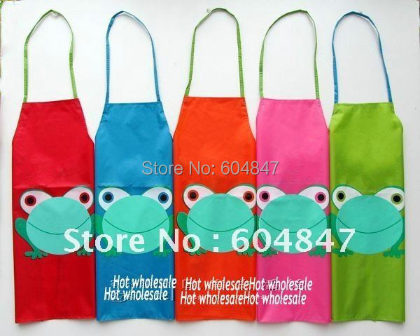 Wholesale 10pcs/lot Frog Children Kitchen Apron kids Waterproof Apron