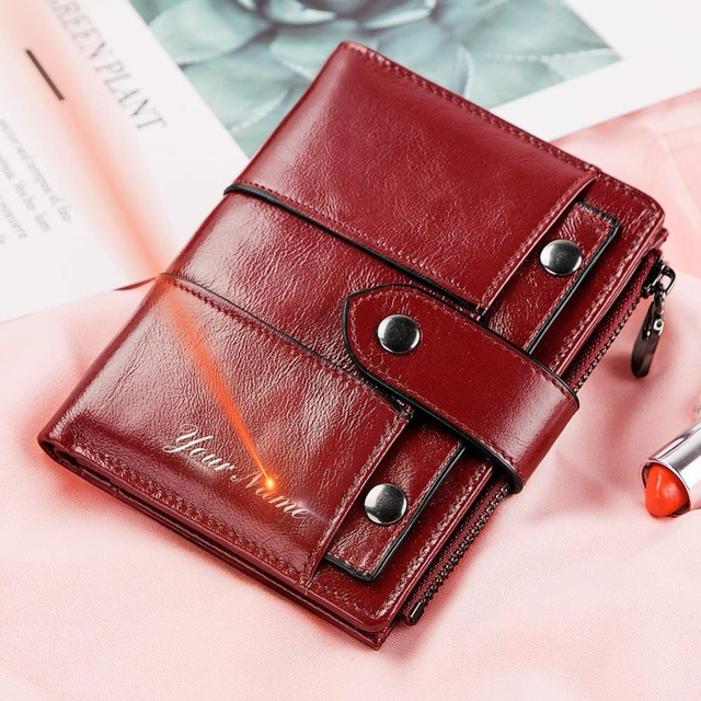 GZCZ Wallet Female Genuine Leather Women Purse Fashion Hasp Small Wallets Photo Holder Clamp For Money Money Bag Free Engraving