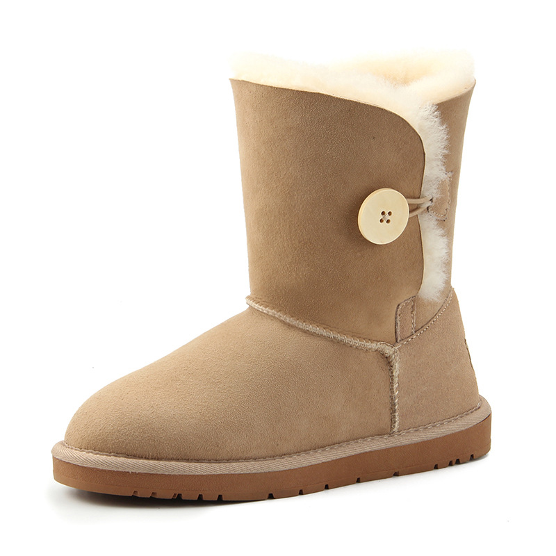 Comfortable warm simple classic wooden button in the tube women's snow boots Sheepskin with wool anti splash winter Women shoes