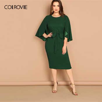 COLROVIE Plus Size Green Solid Split Bell Sleeve Pencil Dress With Belt Women Clothing 2019 Summer Korean Elegant Midi Dresses