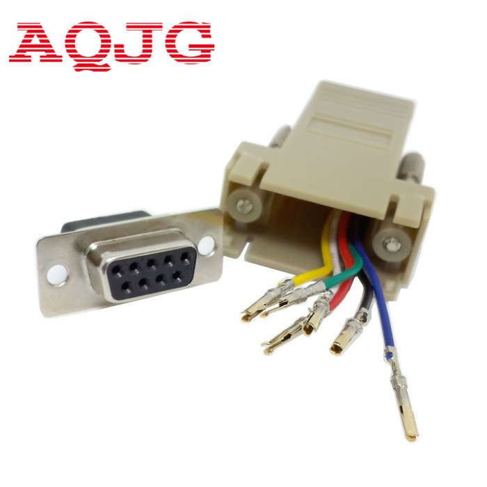 10pcs DB9 Female to RJ45 Female DB9 to RJ45  Adapter Connector  rs232 modular cab-9as-fdte to rj45 db9 for Computer AQJG rs232 db9 female to rs485 db9 male converter kit black green