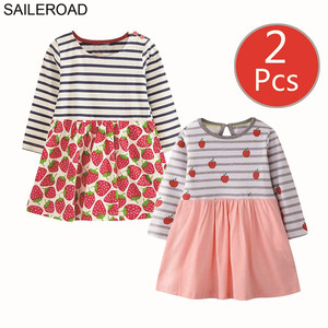 Image 2 - SAILEROAD 2 sztuk owoce jabłko drukuj dziewczyny sukienka z kieszeniami Vestidos 5 lat księżniczka dziecko sukienka dla dzieci ubrania Vestido Unicornio