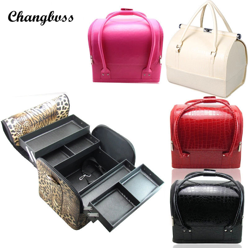 Brand Fashion PU Leather Multi Layers Cosmetic Bag Women Travel Makeup Organizer Case Portable Beauticians Make Up Storage Box brand new storage portable travel soft carrying case bag for jbl xtreme wireless bluetooth speaker