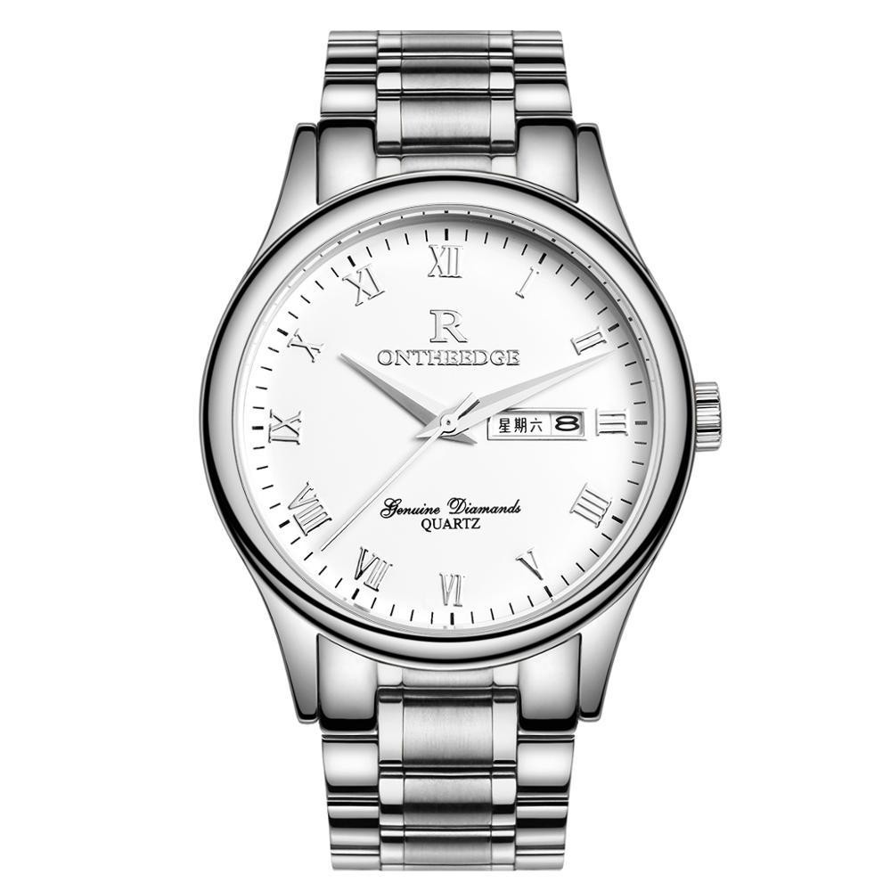 Men's top luxury fashion trend waterproof business stainless steel steel belt quartz watch student non-mechanical men's watch