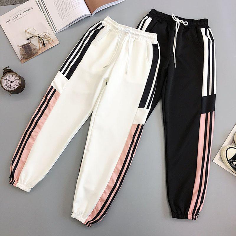 Autumn New White Black BF Style Streetwear Pants Harajuku Cool Side Stripe Sweatpants Fashion Hip Hop Pants Casual Joggers Pants