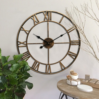 Easy Read 3D Iron Wall Clock Classic Roman Numerals Silent Sweep Non ticking Silent Sweep Battery Operation