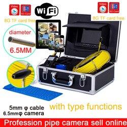 50 m wifi Angeln Kamera Abflussrohr Kanalisation Inspektion IP68 Wasserdichte Industrie Endoskop Endoskop 6,5mm Super Dünne Inspektion